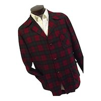 ROCKABILLY Vintage 1950s Pendleton Mens Red & Green Plaid 100% Wool 49er Jacket Lg