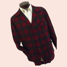 ROCKABILLY Vintage 1950s Pendleton Mens Red & Green Plaid 100% Wool 49er Jacket Lg