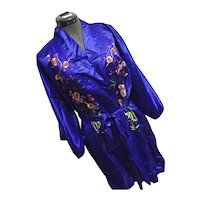 BEAUTIFUL Vintage Golden Bee 100% Silk Chinese Robe Kimono Royal Blue Embroidered Lg