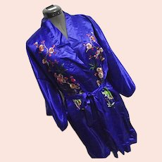 BEAUTIFUL Vintage Golden Bee 100% Silk Chinese Robe Kimono Royal Blue Embroidered XL
