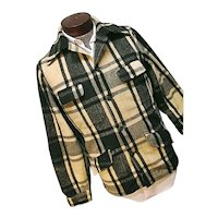 Vintage 1950s Chippewa Falls Woolen Mills Mens Green Plaid Field Hunting Jacket Med