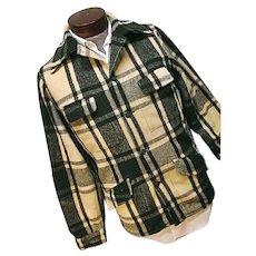 Vintage 1950s Chippewa Falls Woolen Mills Mens Green Plaid Field Hunting Jacket Med