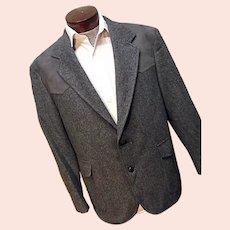 Vintage Pendleton Mens 100% Wool Tweed Western Blazer Faux Suede Elbow Patch