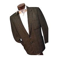 Vintage 1950s Fahey Brockman USA Mens Brown Tweed Blazer Sport Coat 44R