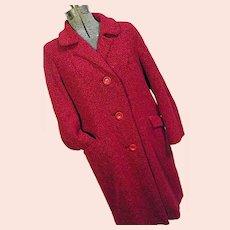 HTF Colette Modes Dublin Womens Vtg 1960s Red Tweed Coat Handwoven Wool Lg XL