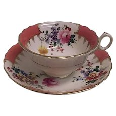 Hand Painted Vintage Cauldon England Bone China Cup Saucer Pink Floral Gold