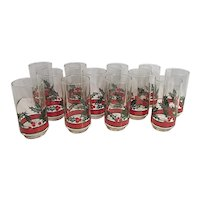 Libbey Holly & Berries Set of 12 Tall Coolers Tumblers Christmas in Box