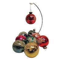 Vintage Set of 9 Glass Christmas Ornaments Flocked Snowman Merry Bells House