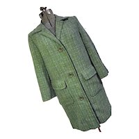 Vintage 1960s Pendleton Woolen MIlls Womens Green Tweed Car Dress Coat Med