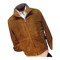 Vintage Ermenegildo Zegna Sport Mens Suede Leather Coat Quilted Lining Med