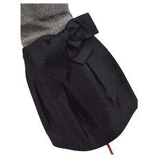 Kate Spade Womens 100% Silk Skirt W/ Large Bow Black Satin 6
