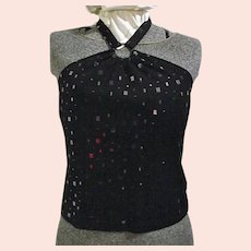 LOVELY St John Evening Marie Gray Womens Black Halter Top Embellished Paillettes