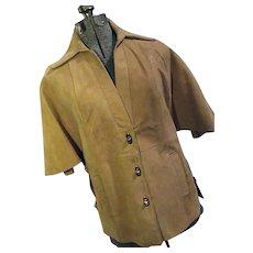 Boho Mod Vintage 1960s Womens Camel Suede Leather Cape Caplette Toggle Buttons 6 Med