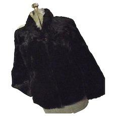 Vintage 1940s Fashion Furs Portland Womens Black Sheared Beaver Car Coat Med