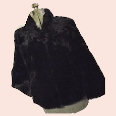 Vintage 1940s Fashion Furs Portland Womens Black Sheared Beaver Car Coat Med