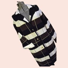 SHARP Vintage 1960s Knit Fashion Inc Womens Acrylic Long Sweater Coat M Striped