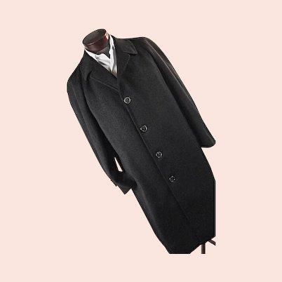 SHARP Vintage 1950s Hargate Fashion Mens Black Felted Wool Top Coat Overcoat XL