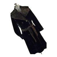 PLUSH Luxury Vintage Borgazia Sportowne Womens Thick Faux Fur Coat Black Brown Small