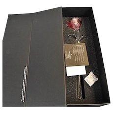 IN BOX Waterford Crystal Fleurology Pink Rose Sculpture