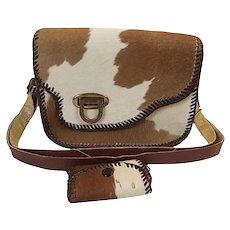 ROCKABILLY Vintage Pony Hyde Leather Hair On Purse Handbag Laced Bonus