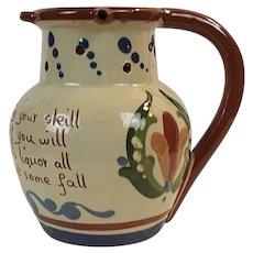 "Vintage Torquay Mottoware England Pottery Puzzle Mug ""Here Gentlemen..."""