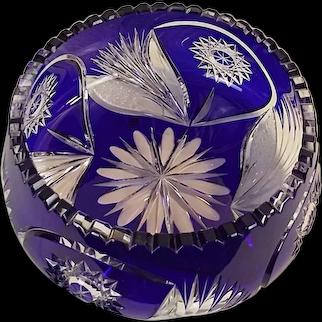"BRILLIANT Antique Lead Crystal Cobalt Cut to Clear 9"" Deep Bowl"