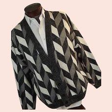 Vintage 1980s Jed Mens Geometric Cardigan Sweater XL Black White Gray