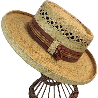 ANTIQUE 1920s Raffia Mens Boater Hat Straw Woven Made in Italy Size 7