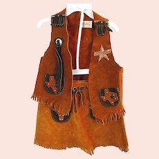 Vintage 1970s Sheplers Childs Girls Cowgirl Leather Outfit Vest Skirt Texas