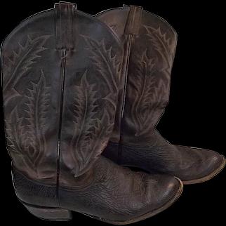 Vintage Tony Lama Mens Cowboy Boots Dk Brown Real Elephant 9.5D