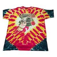 Vintage 1992 Grateful Dead Tie Dye Tee Shirt Lithuania Barcelona Liquid Blue XL