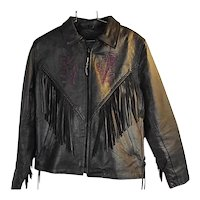 Vintage Womens Black Leather Motorcycle Jacket Fringe Purple Rose Cut Out Lg