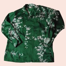 RARE Vintage 50s-60s GUY ROMO Honolulu Mens Long Sleeve Hawaiian Shirt Green