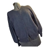 Vintage Ja Sung Womens Slate Blue Angora Sweater Cardigan Ribbon Pearls M-L