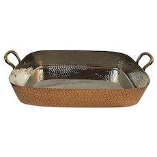 Vintage Tin Lined Large Roaster Roasting Pan Textured Copper Brass Korea