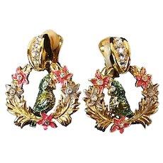 Bob Mackie Vintage Clip On Earrings Enameled & Rhinestone Parrot in Wreath