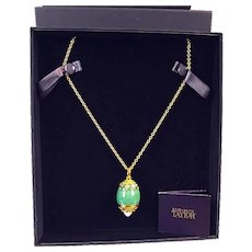 IN BOX Elizabeth Taylor Gold Necklace with Faberge Egg Locket Opalescent