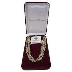 IN BOX JBK Camrose & Kross Vintage Gold Paperclip Chain Necklace Sim Diamond 4-in-1