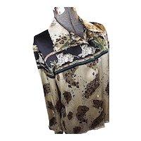 Vintage Jessica Holbrook 100% Silk Blouse Big Cats Leopard Cheetah