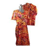 ROYAL HAWAIIAN Vintage 1970s His & Hers Honeymoon Set Womens Dress Mens Shirt Orange