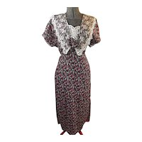 GUNNE SAX Vintage Womens Rayon Maxi Dress Wide Lace Collar Roses