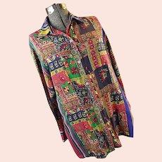Vintage Exterior Erez Women Colorful Patchwork Long 100% Silk Blouse Tunic India
