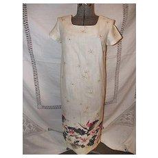 Vintage Iolani Hawaiian Cotton Dress Hibiscus Flower Small