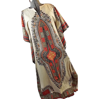1970s Hippie Dashiki Vintage Womens Caftan Maxi Dress Angel Wing Sleeves