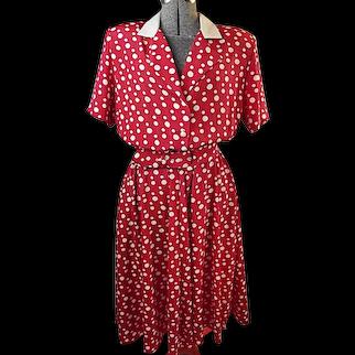 Vintage 1980s Dress Apostrophe Red White Polk-A-Dot