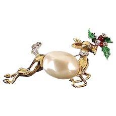 BEAUTIFUL Vintage KJL Kenneth J Lane Reindeer Christmas Pin Brooch Faux Pearl Belly