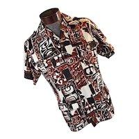 EXCELLENT 1940s Sa-Ne Hawaiian Mens Barkcloth Cabana Safari Shirt Belted