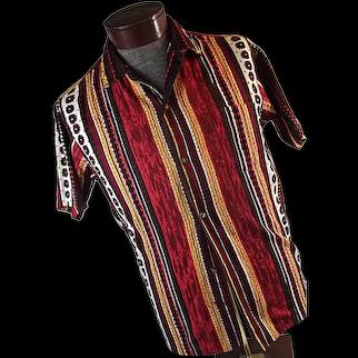 1950s Hawaiian Surf Pacific Sportswear Honolulu Mens Barkcloth Shirt