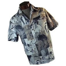 1960s Iolani Mens Hawaiian Shirt Silky Polyester Buddha Animals Birds