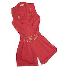 1980s Cache Womens One Piece Romper Shorts Embellished